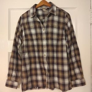 Duluth Trading Co plaid button-up
